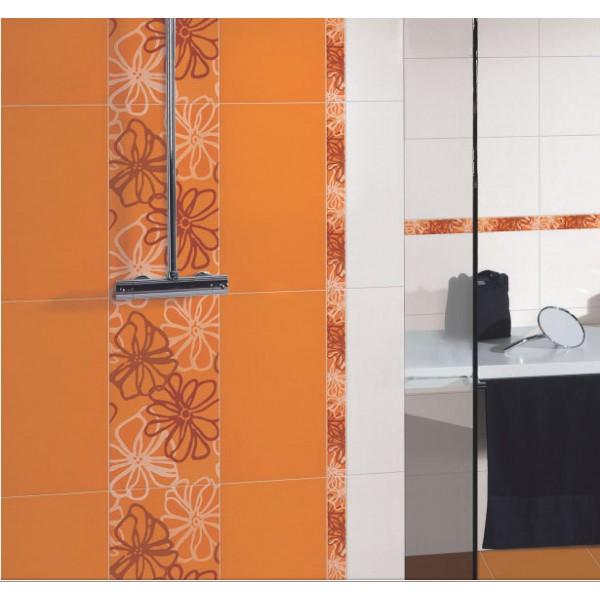 Неустоими  плочки за баня в бял/оранжев цвят / KEROS