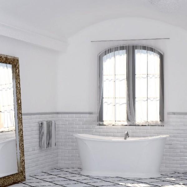 Плочки за баня в бял нежен цвят