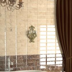 Плочки за баня в бежов/кафяв цвят с блясък