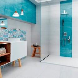 Плочки за баня за бяло-синя еуфория