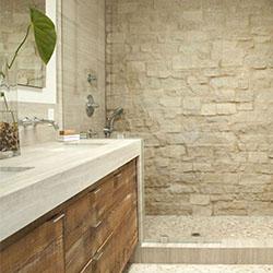 Дърво, камък и плочки за баня