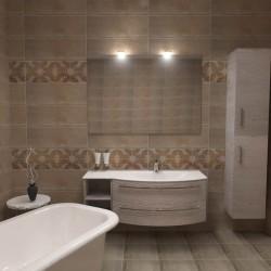 Плочки за баня на интересни бежови форми / KEROS