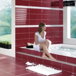 Уникални испански плочки за баня в бордо цвят  - гланц