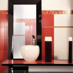 Атрактивни испански плочки за баня в бял/оранжев цвят