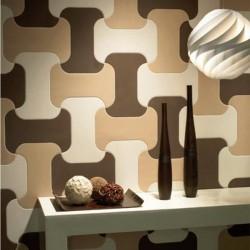 Плочки за баня в бял/бежов и кафяв цвят с интересна форма