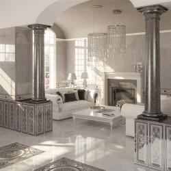 Испански плочки за баня, в бял/сив цвят - луксозни