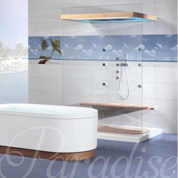 Симпатични плочки за баня в бял/син цвят  - Испанска колекция