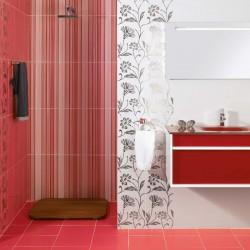 Модерни испански плочки за баня в бял/червен цвят