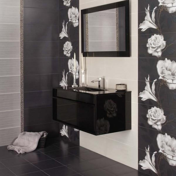 Дизайнерски испански плочки за баня в бял/черен цвят