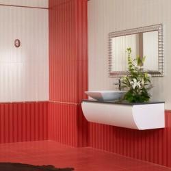 Красиви плочки за баня в бял/червен цвят , N 22354