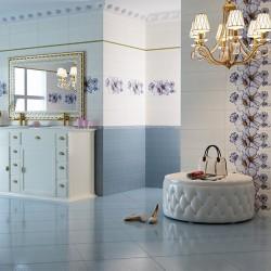 Плочки за баня в в бяло-синята гама
