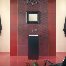 Създаващи настроение плочки за баня в червен цвят