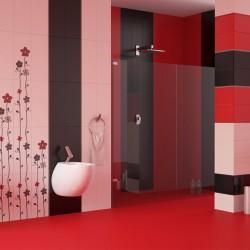 Колекция плочки за баня в червен/ бял или черен цвят