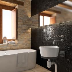 Плочки за баня в черен цвят с релефни орнаменти, гланцирани / Колекция от Vives